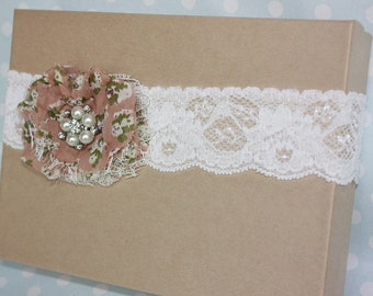 SALE... Individual Bridal Garter with Flower, Pearl and Diamante Detail on Comfortable Stretch Lace FREE UK P&P