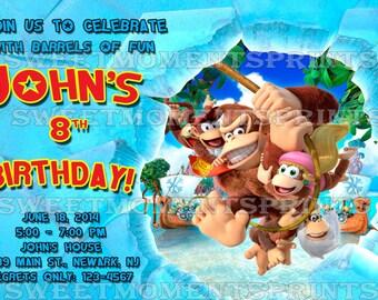 Nintendo Donkey Kong Custom Birthday Party Invitations
