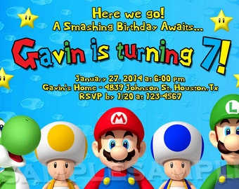 Nintendo Mario Bros Luigi Custom NO Photo Birthday Party Invitations