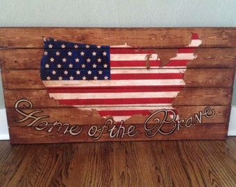 American Flag painting shaped as United States - wood