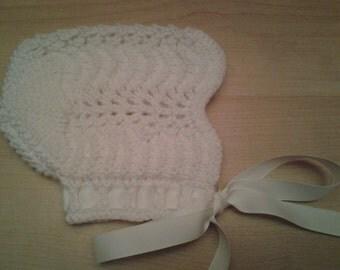 Knit Baby Bonnet - Feather & Fan Baby Bonnet - 3 Months