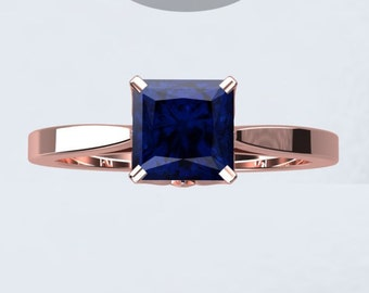 Princess Cut Blue Sapphire Engagement Ring Wedding Ring Sapphire Ring 18k Rose Gold Bloomed Love Ring Pristine Custom Rings