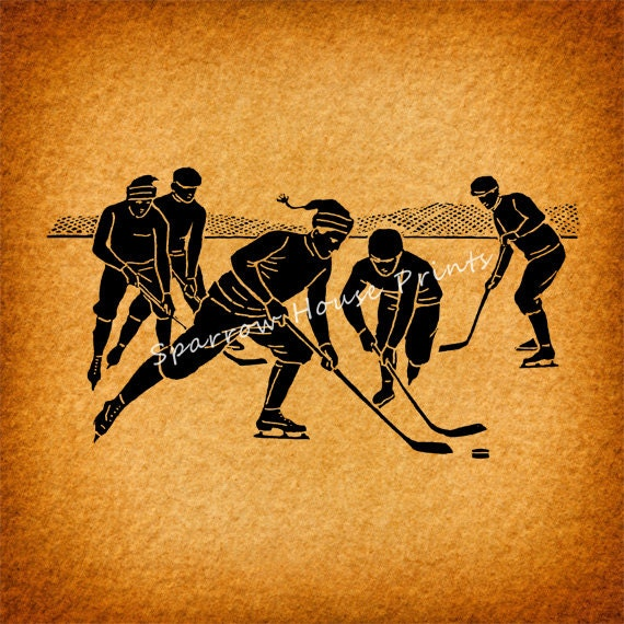 Items similar to antique hockey players vintage artwork for Vintage basketball wall art