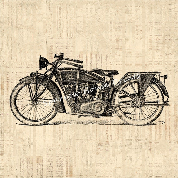 Antique classic motorcycle wall art home decor vintage for Motorcycle decorations home