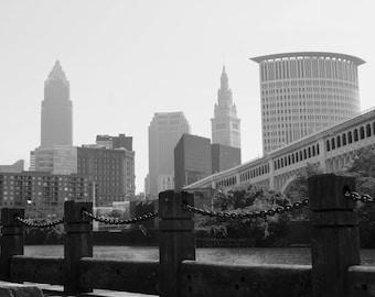 Cleveland Skyline, Black and White Metallic Print 8x10, 11x14, 20x24