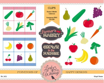 Farmer's Market Clipart·Digital Scrapbook ·Clip Art ·Fruits · Veggies · Produce · Personal & Commercial Use ·Instant Download