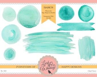 Watercolor Strokes + Doodles ·Digital Scrapbook ·Clip Art ·Logos ·Personal & Commercial Use  · Watercolor · Wash ·  Instant Download
