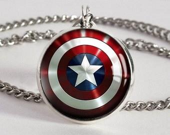 Handmade Captain America Shield Pendant Necklace
