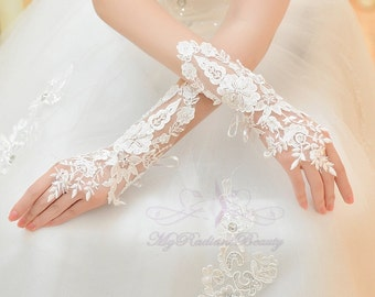 Bridal Gloves, French Lace Gloves, Floral Rhinestone Bridal Gloves, Long Design Fingerless Gloves, Wedding Gloves, Wedding Accessory BG0025