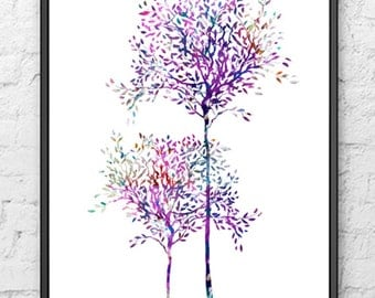 Tree watercolor art print - tree wall art - tree home decor - watercolor painting - 15