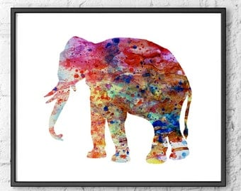 Watercolor print - Elephant painting - Animal watercolor art print  -17
