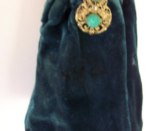 Vintage Deep Teal VELVET Purse with Rosette Stones, Brass lid and frame.