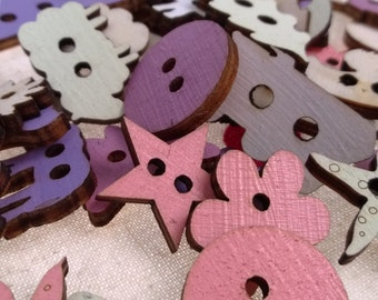 Laser cut hand painted wooden Buttons