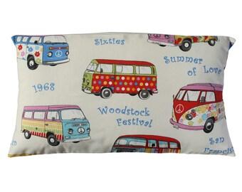 Hippie van, pillow cover, throw pillow, cushion cover, beige cushion cover, sofá cushion, decorative pillows, surf decor, bed decor.