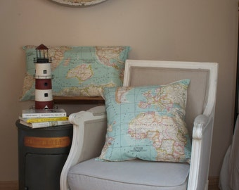 Set of 3 World Map Pillow cover in blue.