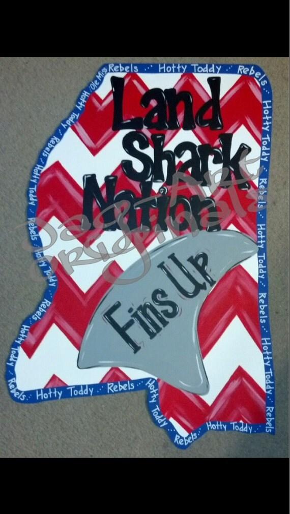 Items Similar To Fins Up Land Shark Nation Door Hanger On Etsy