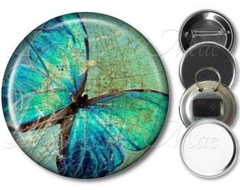 Blue Butterfly Pocket Mirror, Compact Mirror, Butterfly Magnet, Butterfly Bottle Opener Key Ring, Butterfly Keychain, Pinback Button, Global