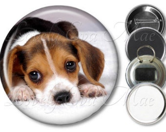Beagle Puppy Pocket Mirror, Magnet, Bottle Opener Key Ring, Pin Back Button, Beagle Keychain, Beagle Accessories, Beagle Gifts, Dog Lover