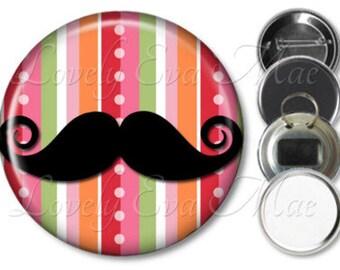 Handlebar Mustache Pocket Mirror, Purse Mirror, Mustache Magnet, Bottle Opener Key Ring, Pin Back Button, Colorful Stripe