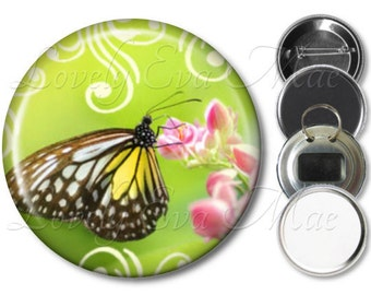 Butterfly Pocket Mirror, Butterfly Magnet, Bottle Opener Key Ring, Pin Back Button, Butterfly Gift, Butterfly Key Fob, Purse Mirror, Compact