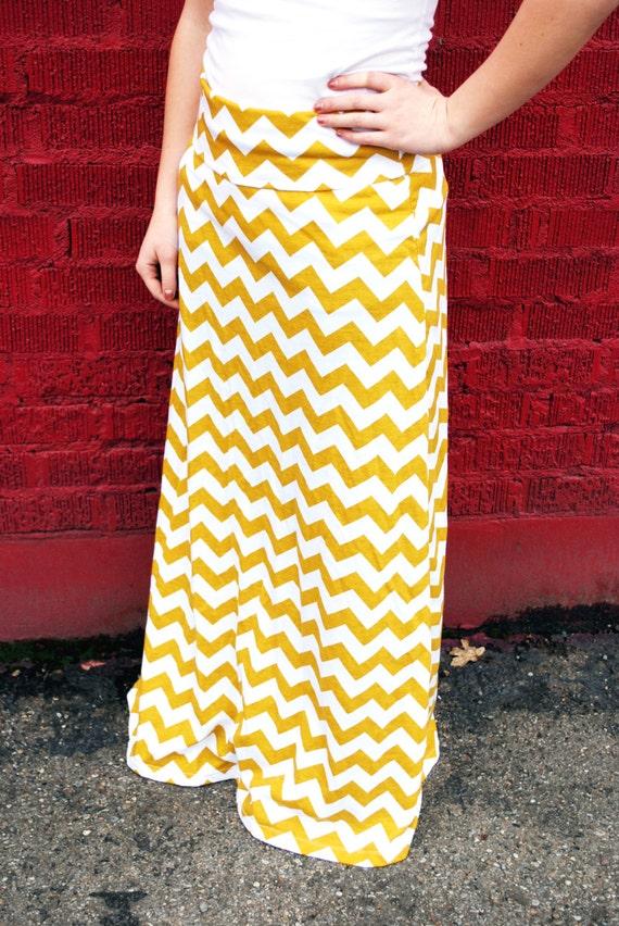 mustard yellow gold chevron maxi skirt s 3x