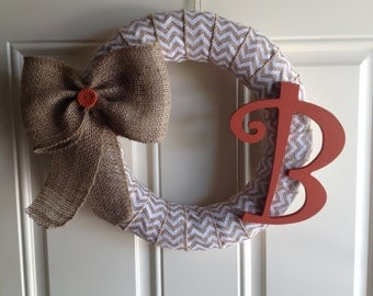 Chevron Burlap Wrapped Wreath with Natural Burlap Bow & Letter (customizable)