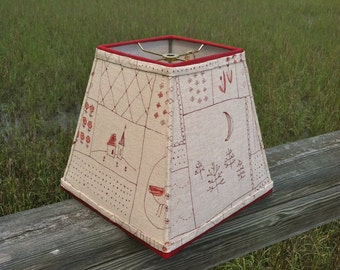 Square Lamp Shade Whimsical Bunnies, Birds, Castles Linen Fabric Lampshade