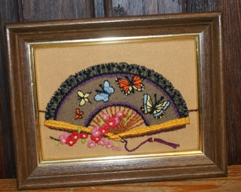 Lovely Vintage Hand Stitched and Framed Fan with Butterflies