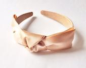 Nude Satin Ribbon Isabelle Headband - Elegant headband - Bridesmaid headband - Vintage style - Satin Ribbon headband - Wedding headband