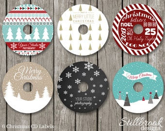 Christmas CD/DVD Label Template Set - Xmas Holiday CD Stickers for Photographers - CLCS1