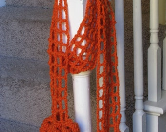 Handmade crocheted fashion scarf with curly tassels