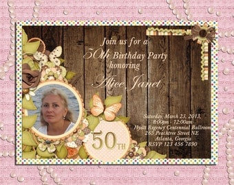 Rustic Flowers and Butterflies Wom en's Birthday Party Invitation 21st ...