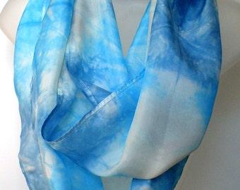 Blue Silk Infinity Scarf - hand dyed - custom scarf