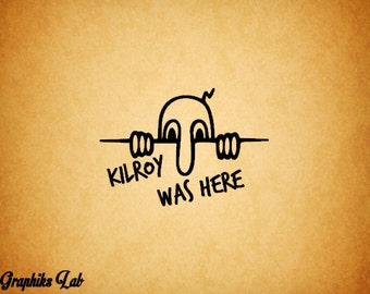 Kilroy WW2 Graffiti Decal Kilroy Was Here Vinyl Decal Sticker