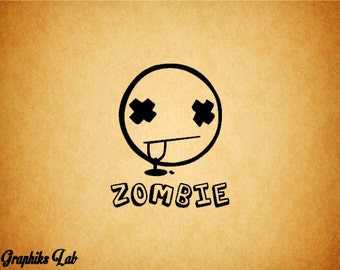 Zombie Decal Smiley Face Vinyl Decal Sticker Dead Smiley Face Decal