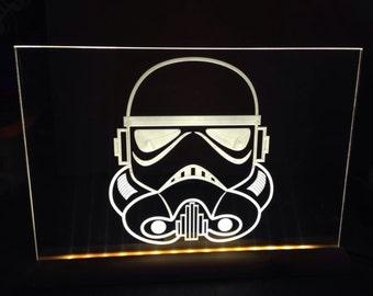 storm trooper helmet  light up sign. illuminated