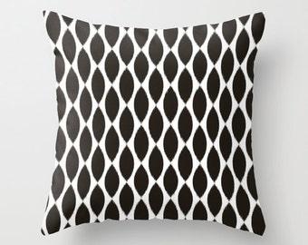 Velveteen Pillow - Black Ikat Petals - Dorm Pillow - Teen Pillow - Girls Pillow - Teen Room Decor - Girls Bedroom Ideas - Dorm Decor