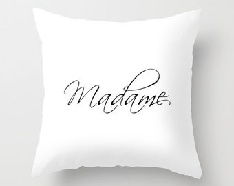Paris Pillow, Madame, Gifts for Women, Paris Decor, Gifts for Her, White Velvet Pillow Cover, Black and White Cushion Cover, Paris Bedroom