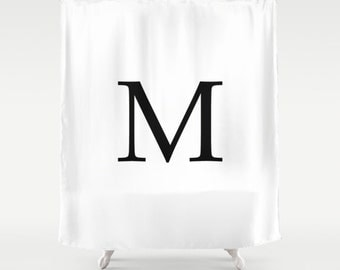 Custom Monogram Initial Shower Curtain - Black and White Shower Curtain - Bathroom Shower Curtain - Fashion Decor - Custom Shower Curtain