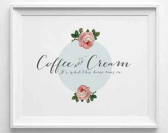COFFEE and CREAM  - Instant Download - 8x10 - 11x14 - Printable art - Light Blue -  Vintage Roses  - Feel Good Art - Home Decor
