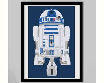 Star Wars R2D2 Print - 11x17 Star Wars R2D2  Print - R2D2 Star Wars Print