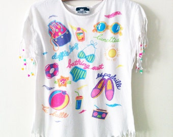 AWESOME 90'S Bright BEADED Beach T-Shirt