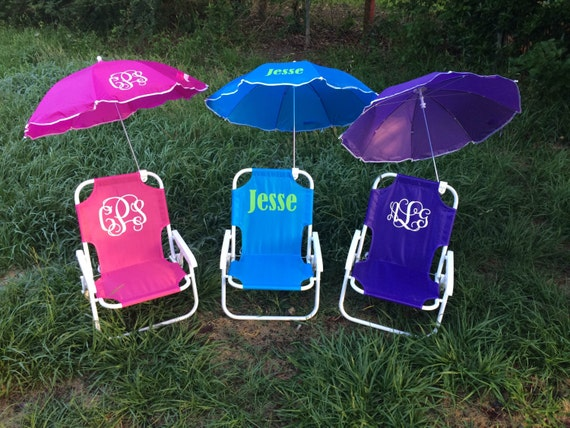 items similar to monogrammed kids beach chair with umbrella on etsy. Black Bedroom Furniture Sets. Home Design Ideas