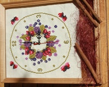 Cross Stitch embroidery for wall clock, wall clock stitched image, watch, unique completed cross stitch, Finished embroidery