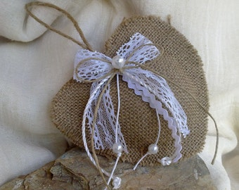 Set of 2 burlap hearts-Rustic wedding favors-burlap and lace hearts-shabby chic favor