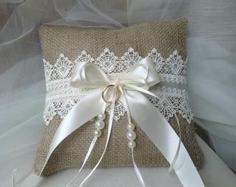 Ring Bearer Pillow - Wedding  pillow-burlap and lace pillow-rustic weddings pillow