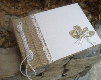 Burlap and linen guestbook - Burlap, lace and linen - Rustic guest book - Best bridal gift