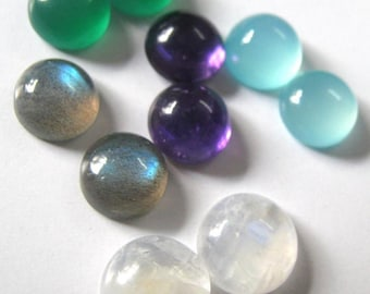 Lot of Mix Gemstone Labradorite, Green Onyx ,Amethyst, Aqua Chalcedony and Rainbow Moonstone 9x9 mm Round Cabochons