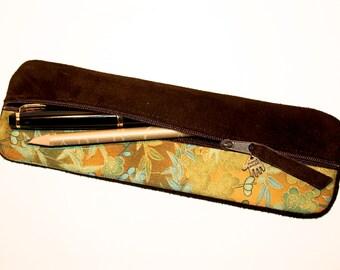 Pencil case leather & japanese fabric gold UNIQUE