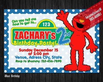 Elmo Invitation - Sesame Street Invitation for Elmo Birthday, Personalized Digital file - Elmo Sesame Street Party
